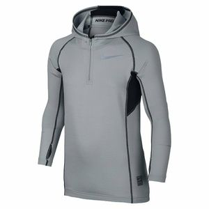 Nike Pro Fitted Hoodie Top Youth Boys L Dri Fit